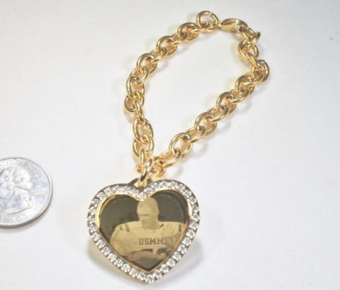 Custom Engraved CZ Bling Gold IPG Stainless Steel Heart with Oval Link Chain Bracelet Up to 5 Charms - Samstagsandmore
