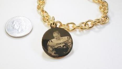 "Photo Picture Tag Custom Engraved 1"" Round Dog Tag Gold IPG Stainless Steel With Oval Link Chain Bracelet or Necklace - Samstagsandmore"