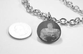"CUSTOM ENGRAVED 1"" ROUND DOG TAG SILVER COLOR STAINLESS STEEL WITH TOGGLE CHAIN BRACELET OR NECKLACE"