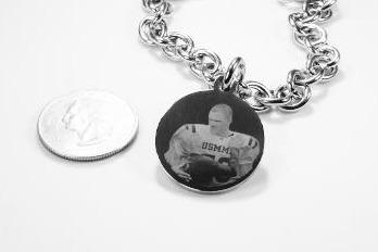 "Photo Picture Text Tag Custom Engraved 1"" Round Dog Tag Silver Color Stainless Steel With Oval Link Chain Bracelet or Necklace - Samstagsandmore"