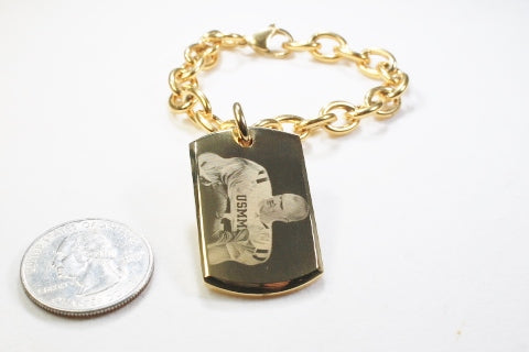 Photo Picture Text Custom Engraved 22 x 36 3D Dog Tag Gold IPG Stainless Steel With Oval Link Chain Bracelet or Necklace - Samstagsandmore