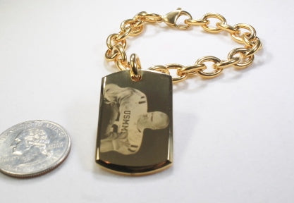CUSTOM ENGRAVED 22 X 36 3D DOG TAG GOLD IPG STAINLESS STEEL WITH TOGGLE CHAIN BRACELET OR NECKLACE