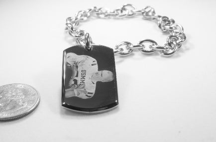 Photo Picture Text Tag Custom 22 x 36 3D dog tag stainless steel oval link chain bracelet or necklace - Samstagsandmore