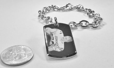 CUSTOM ENGRAVED 22 X 36 3D DOG TAG SILVER COLOR STAINLESS STEEL WITH TOGGLE CHAIN BRACELET OR NECKLACE