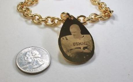 CUSTOM ENGRAVED TEAR DROP DOG TAG GOLD IPG STAINLESS STEEL WITH TOGGLE CHAIN BRACELET OR NECKLACE