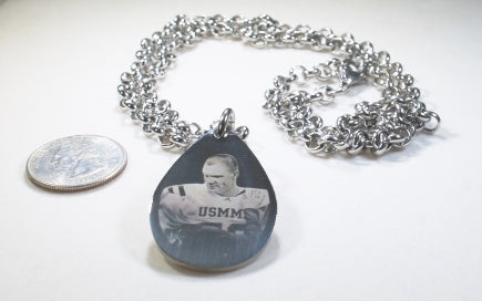 Custom Engraved Tear Drop Dog Tag Silver Tone Stainless Steel with Rolo Chain Bracelet or Necklace - Samstagsandmore