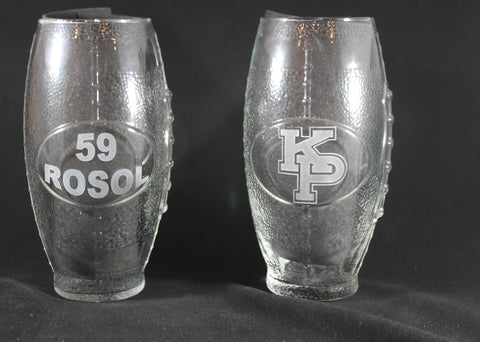 USMMA MERCHANT MARINE ACADEMY KP FOOTBALL GLASSES CUSTOM NAME SAND CARVED