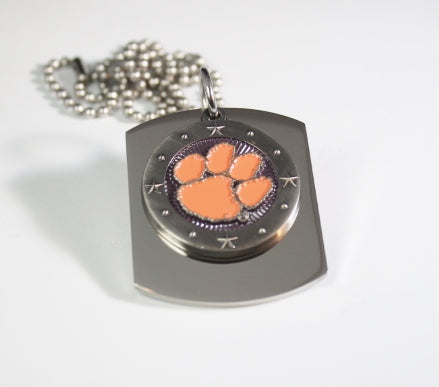 CLEMSON UNIVERSITY TIGERS PENDANT X LARGE  DOG TAG STAINLESS STEEL NECKLACE LOGO