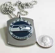 NFL SEATTLE SEAHAWKS  X LARGE PENDANT ON THICK STAINLESS STEEL DOG TAG - Samstagsandmore