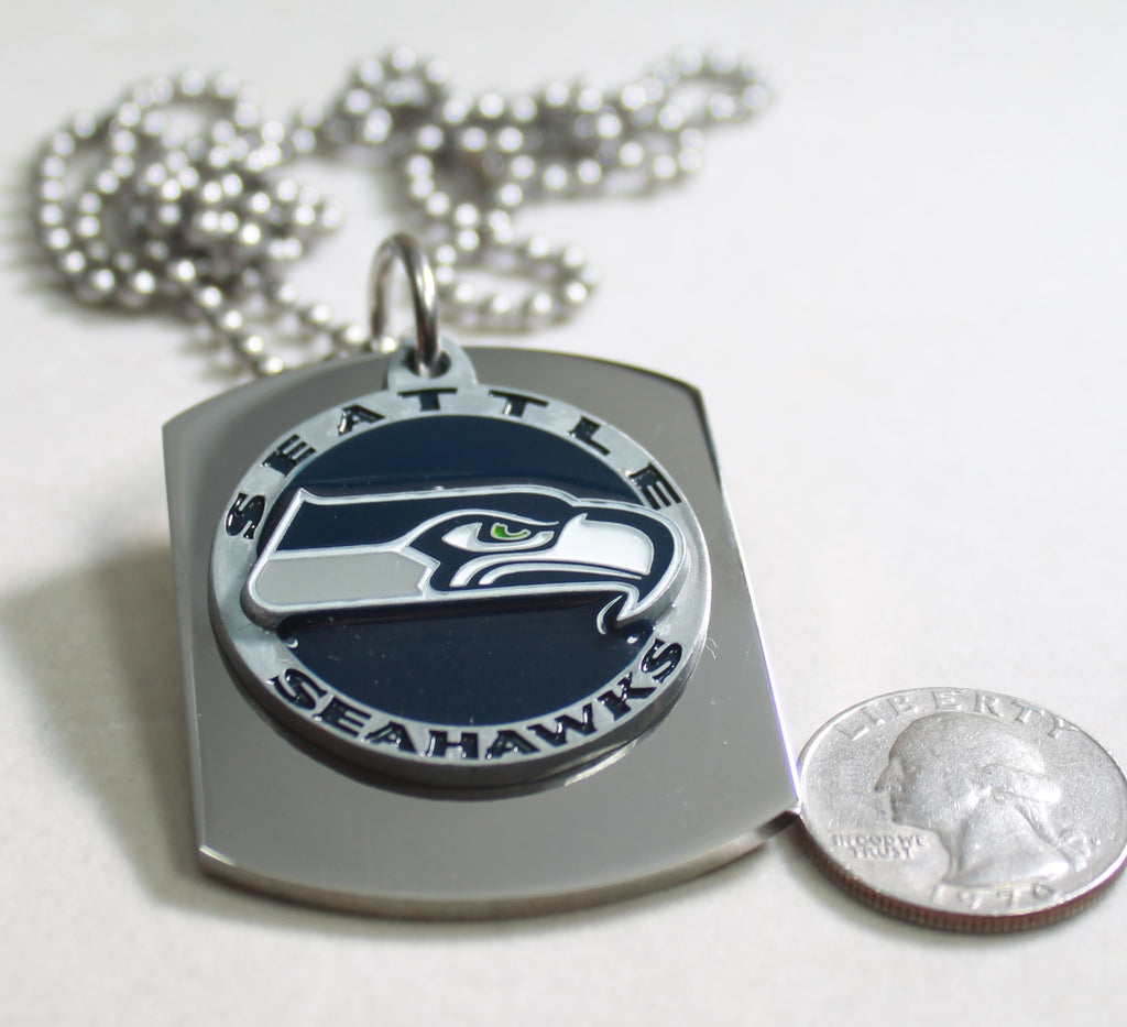 NFL SEATTLE SEAHAWKS  X LARGE PENDANT ON THICK STAINLESS STEEL DOG TAG