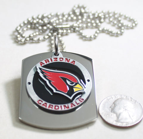 NFL ARIZONA CARDINALS  X LARGE PENDANT ON THICK STAINLESS STEEL DOG TAG