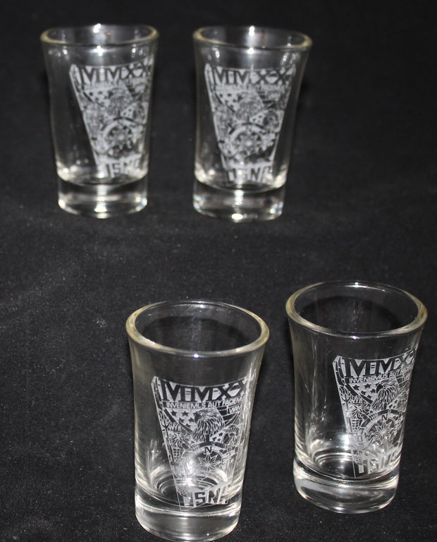 Custom 1.5oz Shot Glass USNA USMMA USAFA Sand Carved SET of 4 graduation commencement - Samstagsandmore