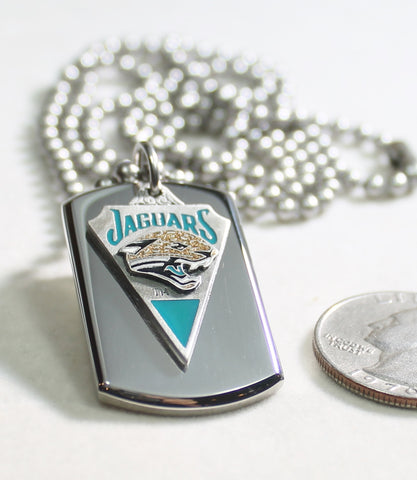 NFL JAGUARS  STAINLESS STEEL DOG TAG NECKLACE  3D BALL CHAIN