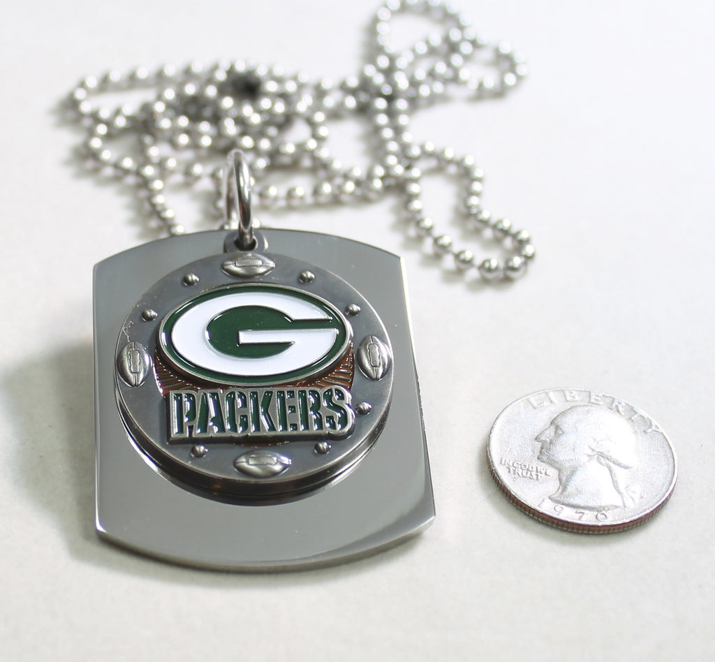 NFL GREEN BAY PACKERS  X LARGE PENDANT ON THICK STAINLESS STEEL DOG TAG - Samstagsandmore