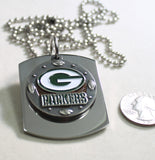 NFL GREEN BAY PACKERS  X LARGE PENDANT ON THICK STAINLESS STEEL DOG TAG