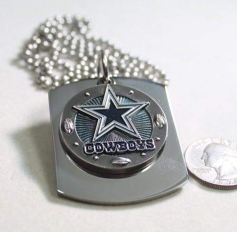 DALLAS COWBOYS NFL X LARGE PENDANT ON THICK STAINLESS STEEL DOG TAG - Samstagsandmore