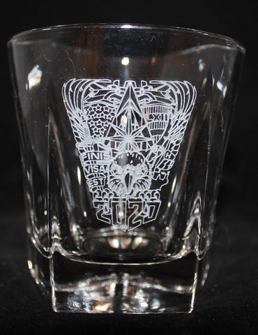 ROCKS GLASS 5-SIDED USNA USAFA USMMA SAND CARVED BOURBON WHISKEY SET OF 8 graduation commencement USCGA USMA