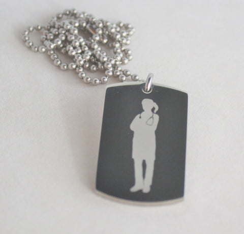 Physician Image and Physician Prayer Dog Tag Necklace Pendant