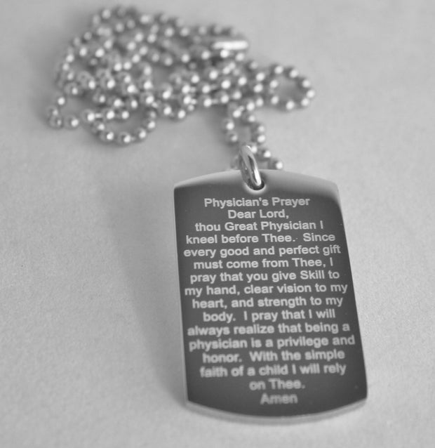 Physician Image and Physician Prayer Dog Tag Necklace Pendant - Samstagsandmore