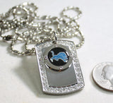 DETROIT LIONS BLING ICED OUT  NECKLACE PENDANT CZ STAINLESS DOG TAG