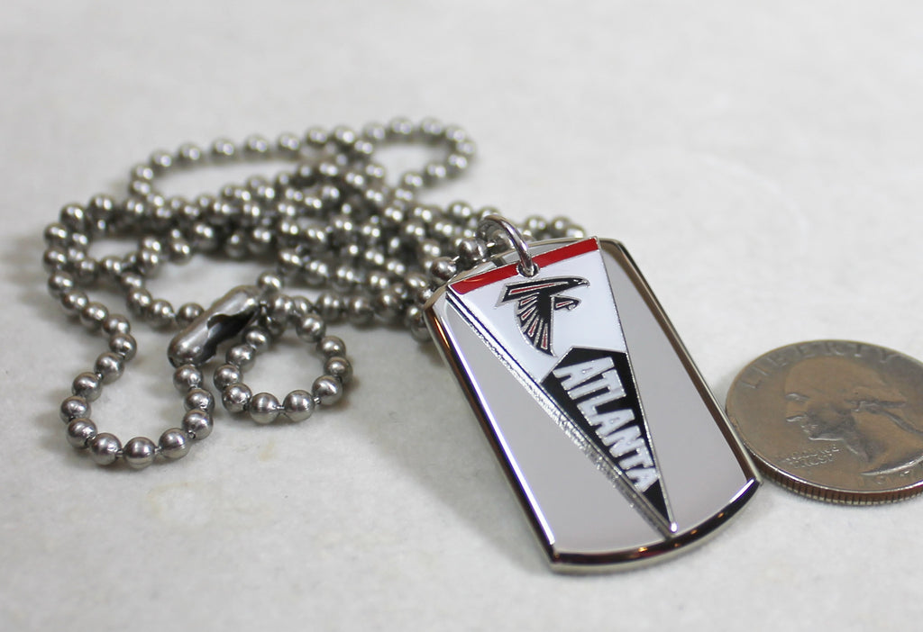 ATLANTA FALCONS NFL PENNANT STAINLESS STEEL DOG TAG NECKLACE  3D BALL CHAIN