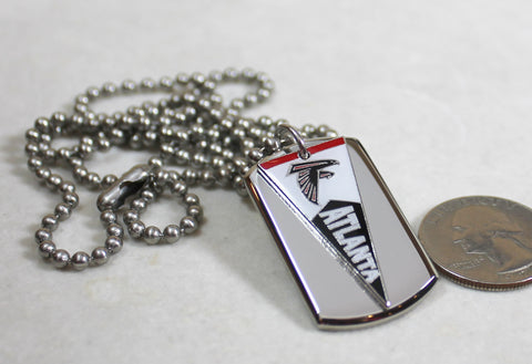 Atlanta Falcons NFL pennant stainless steel dog tag necklace 3D ball chain - Samstagsandmore