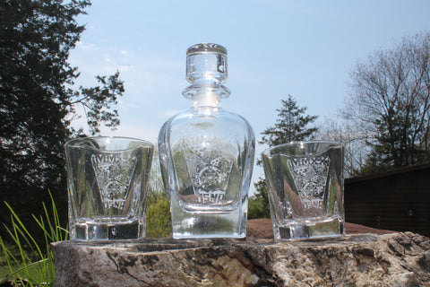Crystal Rounded Whiskey Liquor Decanter and 2 Rocks Glass SET Custom Engraved USNA USMMA USAFA graduation commencement