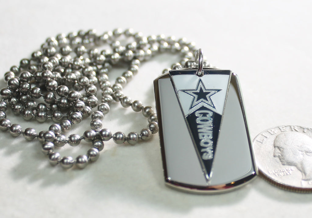DALLAS COWBOYS NFL PENNANT STAINLESS STEEL DOG TAG NECKLACE  3D BALL CHAIN