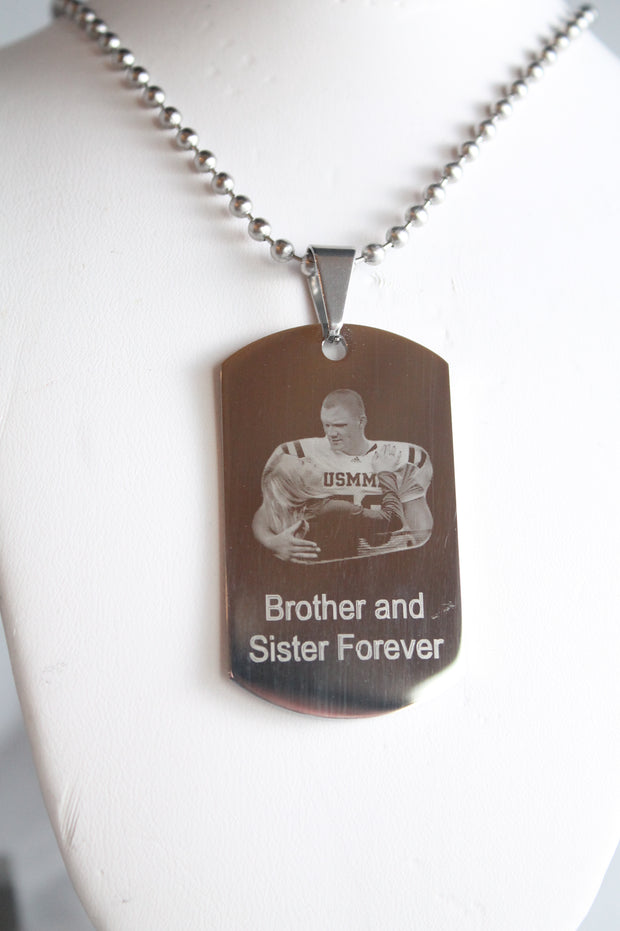 CUSTOM PERSONALIZED PICTURE STAINLESS STEEL DOG TAG AND NECKLACE ENGRAVE 2 PHOTOS silver2950photo2 - Samstagsandmore