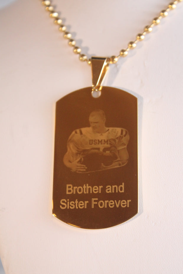 CUSTOM PERSONALIZED PICTURE PHOTO STAINLESS STEEL IPG GOLD DOG TAG NECKLACE ENGRAVE 1 SIDED gold2950photo1 - Samstagsandmore