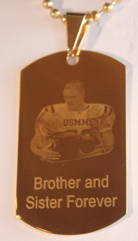 CUSTOM PERSONALIZED PICTURE STAINLESS STEEL IPG GOLD DOG TAG NECKLACE ENGRAVE 2 PHOTOS