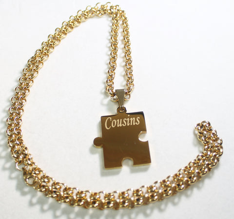 FAMILY PUZZLE PIECE,NAMES, IPG GOLD SOLID STAINLESS STEEL ROLO  CHAIN NECKLACE