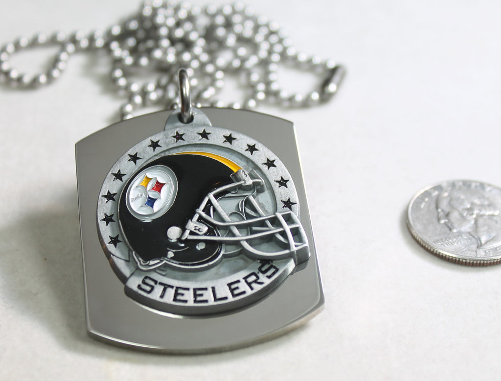 PITTSBURGH STEELERS NFL X LARGE PENDANT HELMET ON THICK STAINLESS STEEL DOG TAG