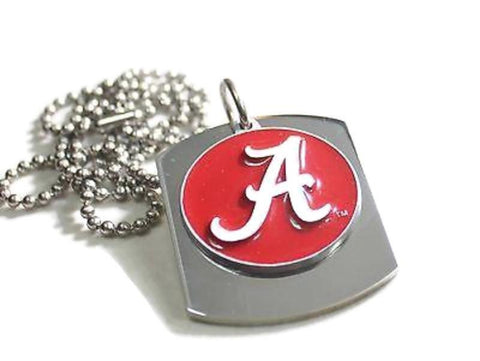 ALABAMA  UNIVERSITY LOGO  X LARGE  DOG TAG STAINLESS STEEL NECKLACE LOGO - Samstagsandmore