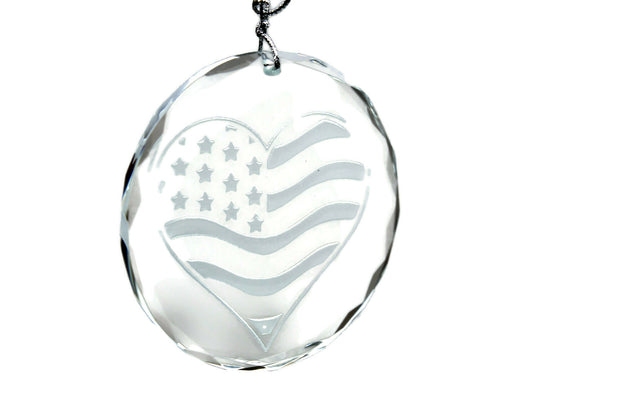 US Flag USA Love Heart Flag  Crystal Ornament - Samstagsandmore
