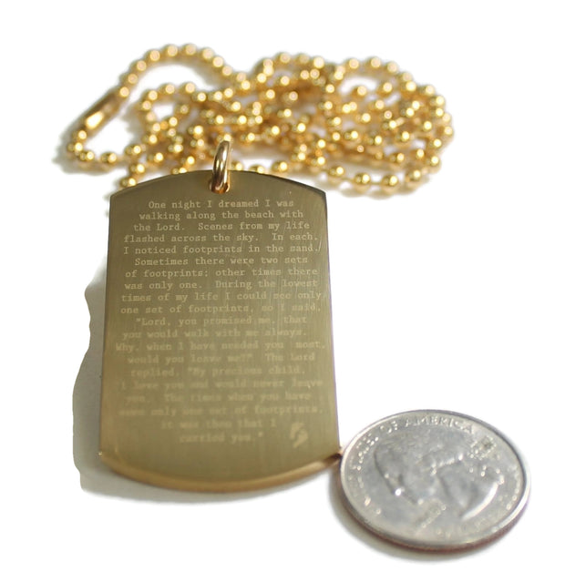 Footprints Prayer Solid Stainless Steel IPG Gold Plated Ball Chain Necklace - Samstagsandmore