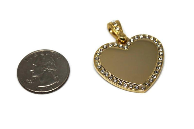 CZ STAINLESS STEEL IPG GOLD HEART BLING BAIL WITH ROLO CHAIN - Samstagsandmore
