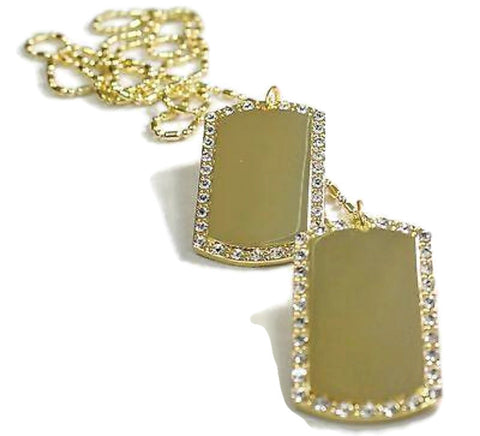 2X GOLD PLATED FLAT EDGE  NECKLACE PENDANT DOG TAG CZ ICED MILITARY STYLE