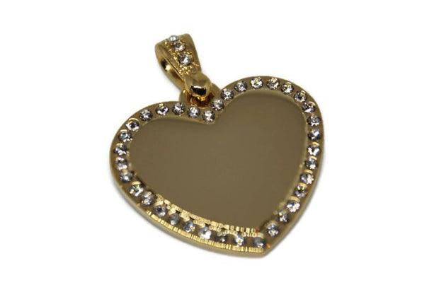 CZ BLING STAINLESS STEEL IPG GOLD HEART NO CHAIN - Samstagsandmore