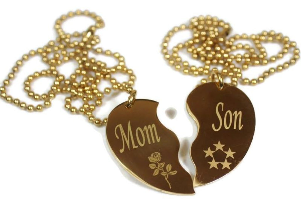 SPLIT HEART NECKLACE  MOM SON SET STAINLESS STEEL IPG GOLD PLATED PENDANTS TAGS - Samstagsandmore