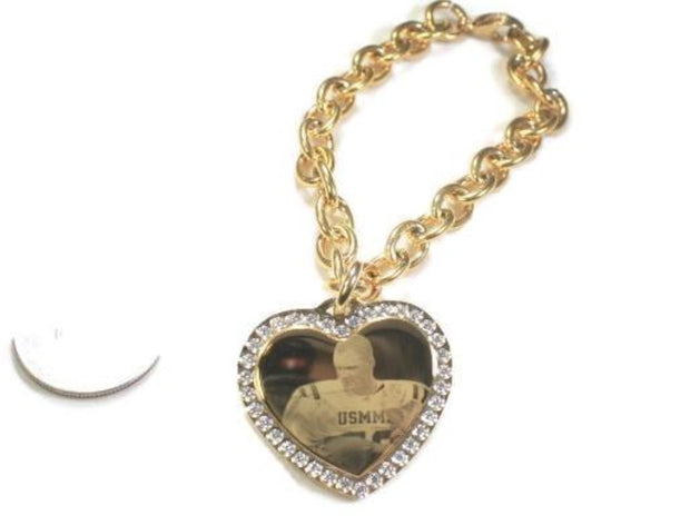 Custom Engraved Photo Pendant CZ Bling Gold IPG Stainless Steel Heart With Oval Link Chain Bracelet - Samstagsandmore