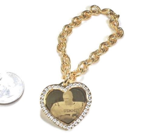 Photo Picture Text Tag Custom Engraved CZ Bling Gold IPG Stainless Steel Heart With Oval Link Chain Necklace - Samstagsandmore