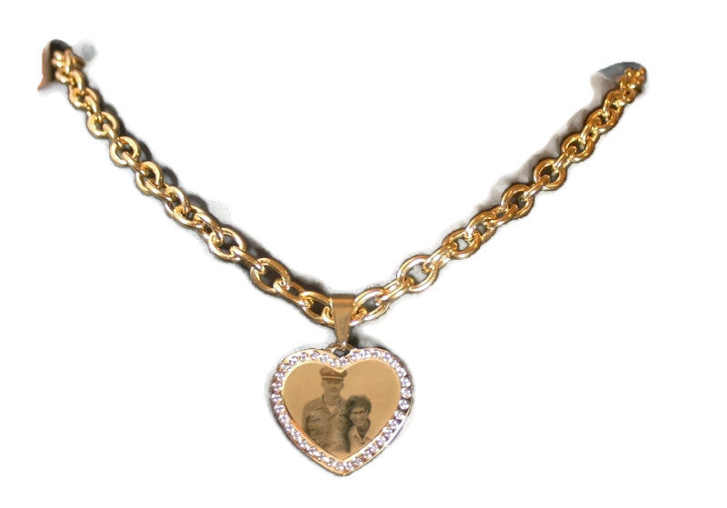Custom Engraved CZ Bling Gold IPG Stainless Steel Heart With Oval Link Chain Necklace - Samstagsandmore
