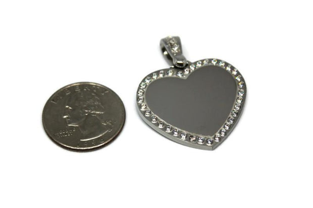 CZ Bling Stainless Steel Heart with Oval Link Chain - Samstagsandmore
