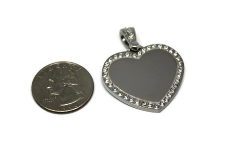 CZ Bling Stainless Steel Heart with Oval Link Chain
