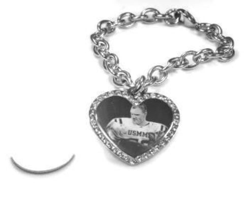Custom Engraved CZ Bling Silver Tone Stainless Steel Heart With Oval Link Chain Necklace - Samstagsandmore
