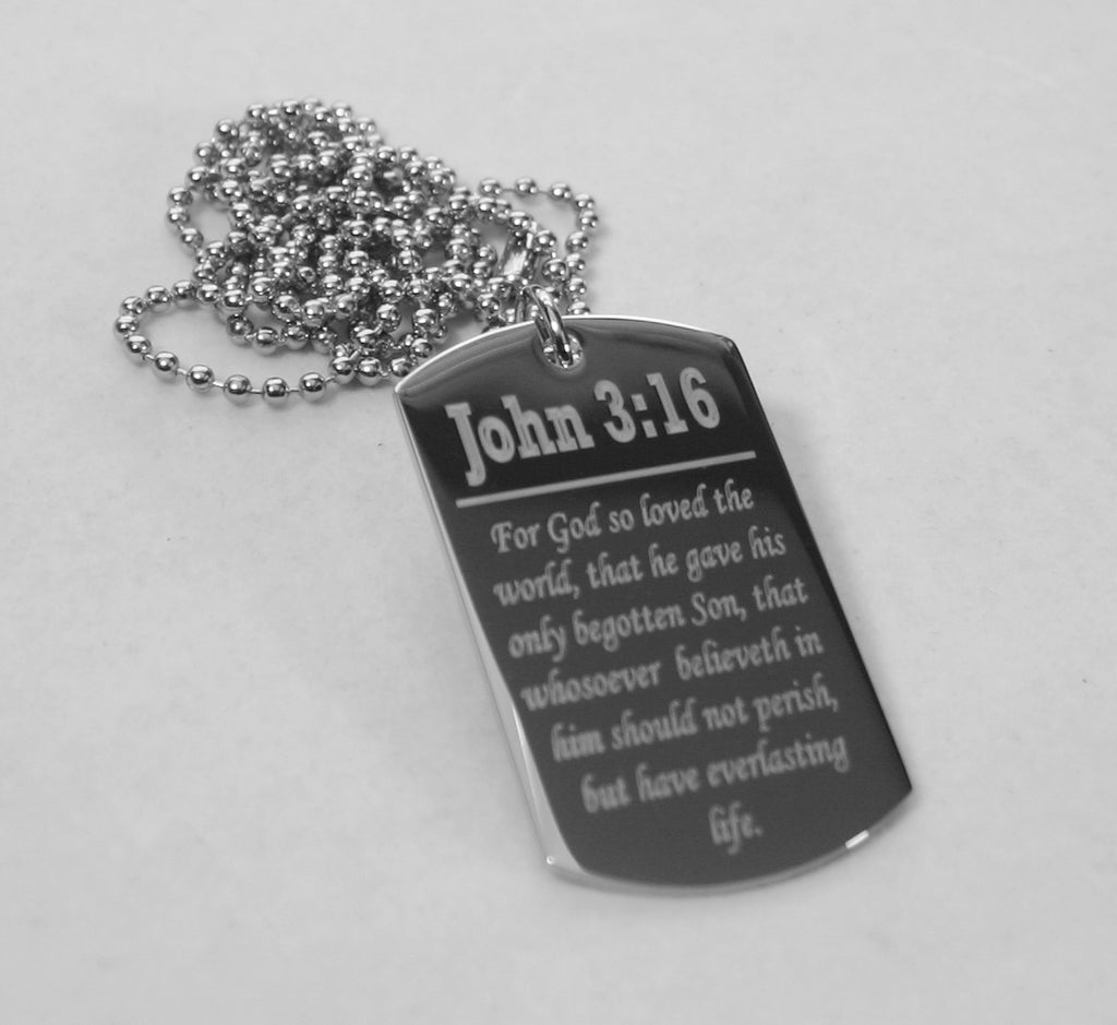 John 3:16 Prayer necklace dog tag religious solid stainless steel silver color