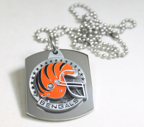 NFL CINCINNATI BENGALS  X LARGE PENDANT/HELMET ON THICK STAINLESS STEEL DOG TAG