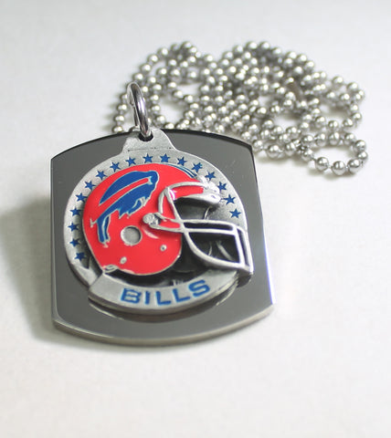 NFL BUFFALO BILLS  X LARGE PENDANT/HELMET ON THICK STAINLESS STEEL DOG TAG