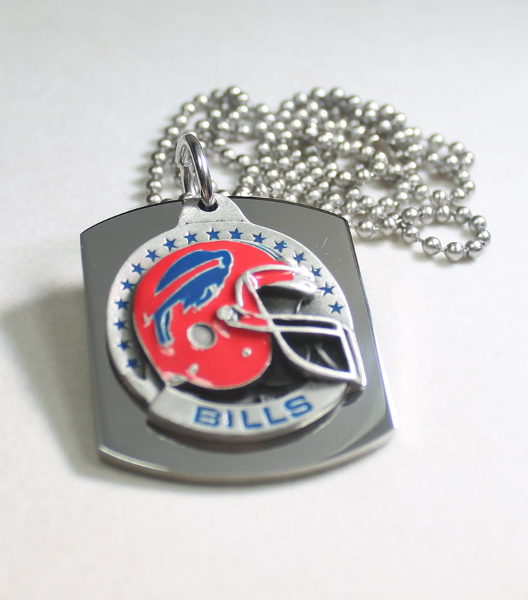 NFL BUFFALO BILLS  X LARGE PENDANT/HELMET ON THICK STAINLESS STEEL DOG TAG - Samstagsandmore